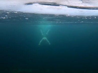 Участники клуба зимнего плавания показали видео заплыва подо льдом Байкала в мороз