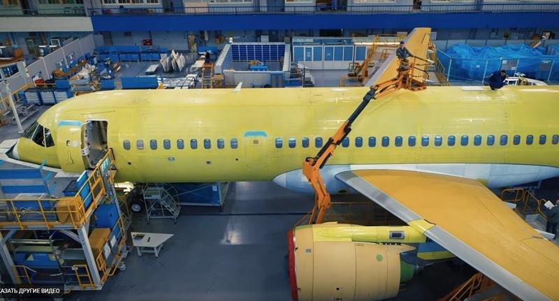 Видео с производства самолетов МС-21 на Иркутском авиазаводе