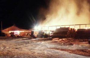Пилорама сгорела в Киренском районе 26 ноября